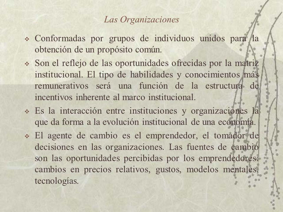 Las Organizaciones Conformadas por grupos de individuos unidos para la obtención de un propósito común. Son el reflejo de las oportunidades ofrecidas