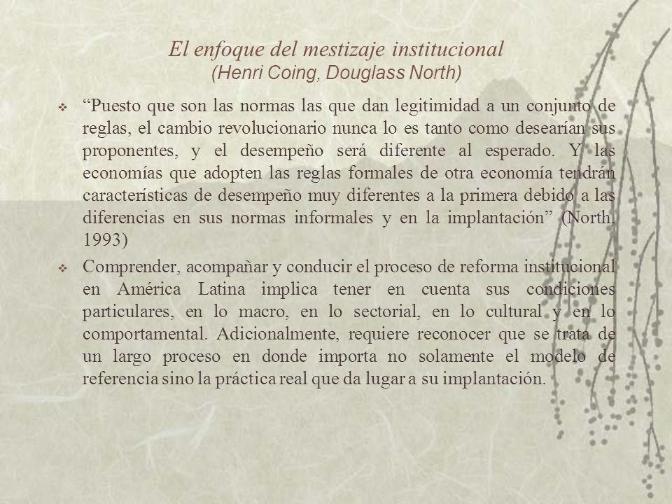 El enfoque del mestizaje institucional (Henri Coing, Douglass North) Puesto que son las normas las que dan legitimidad a un conjunto de reglas, el cam