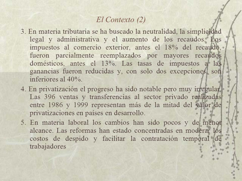 El Contexto (2) 3. En materia tributaria se ha buscado la neutralidad, la simplicidad legal y administrativa y el aumento de los recaudos. Los impuest