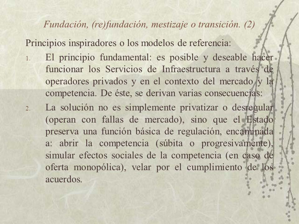 Fundación, (re)fundación, mestizaje o transición. (2) Principios inspiradores o los modelos de referencia: 1. El principio fundamental: es posible y d