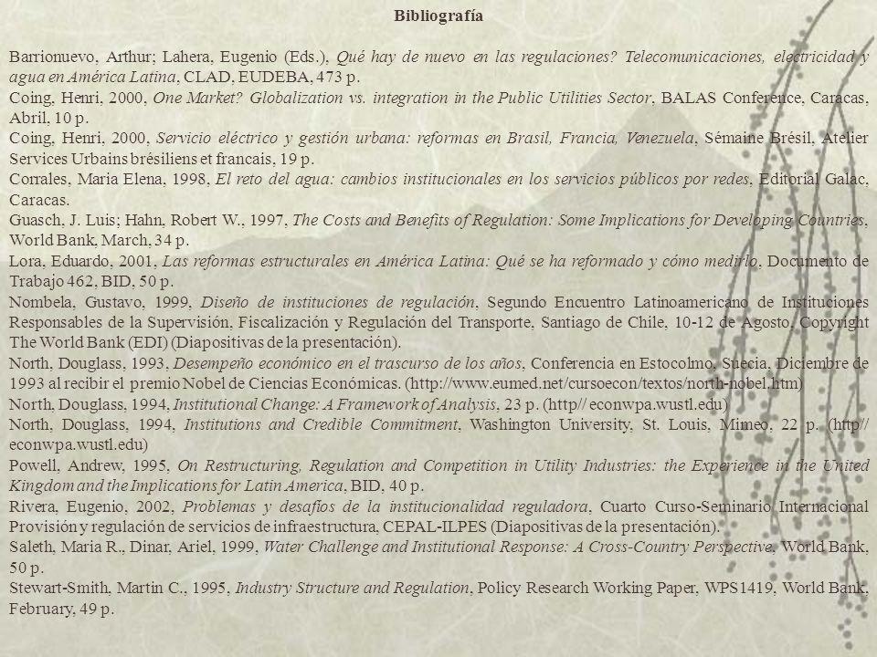 Bibliografía Barrionuevo, Arthur; Lahera, Eugenio (Eds.), Qué hay de nuevo en las regulaciones? Telecomunicaciones, electricidad y agua en América Lat