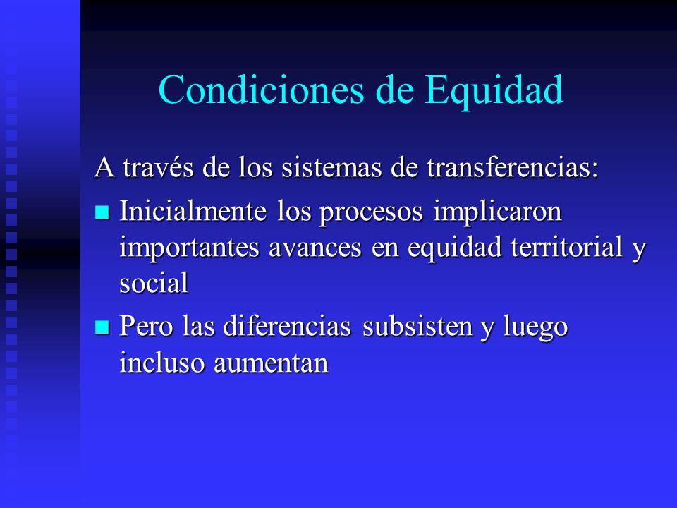 Condiciones de Equidad A través de los sistemas de transferencias: Inicialmente los procesos implicaron importantes avances en equidad territorial y s