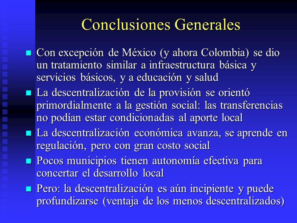 Conclusiones Generales Con excepción de México (y ahora Colombia) se dio un tratamiento similar a infraestructura básica y servicios básicos, y a educ