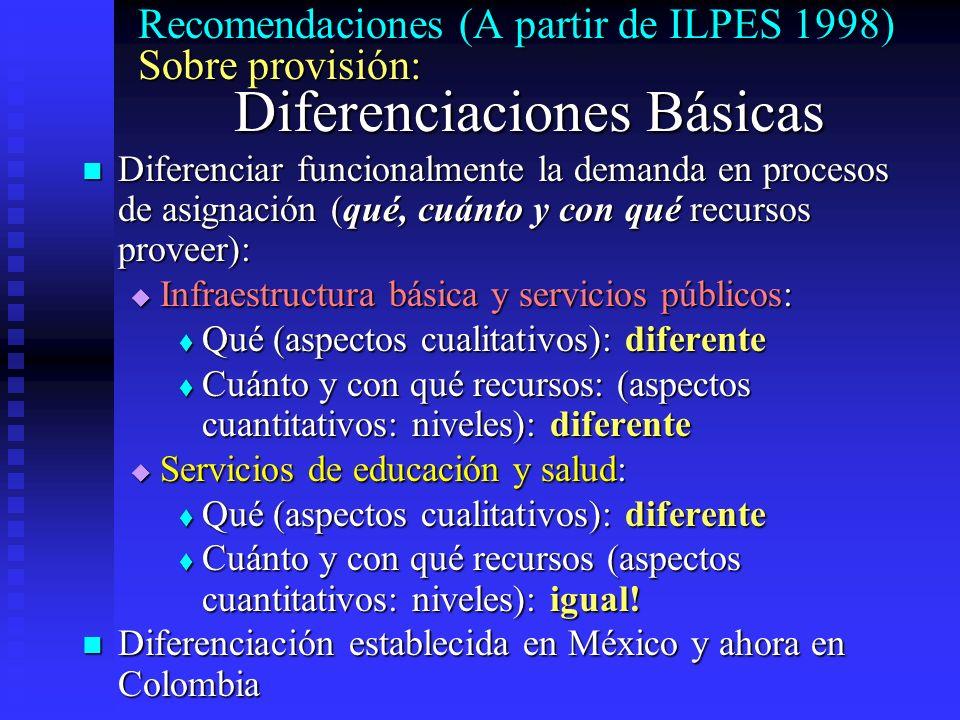 Recomendaciones (A partir de ILPES 1998) Sobre provisión: Diferenciaciones Básicas Diferenciar funcionalmente la demanda en procesos de asignación (qu