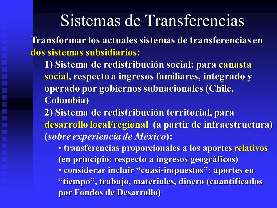 Sistemas de Transferencias Transformar los actuales sistemas de transferencias en dos sistemas subsidiarios: 1) Sistema de redistribución social: para