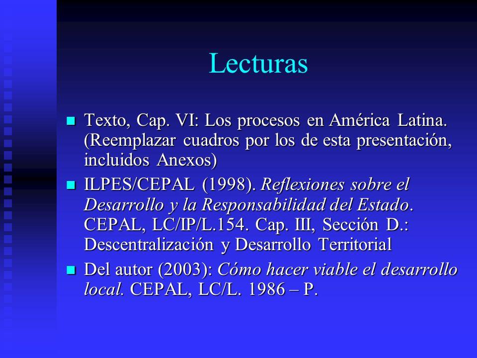 Lecturas Texto, Cap. VI: Los procesos en América Latina. (Reemplazar cuadros por los de esta presentación, incluidos Anexos) Texto, Cap. VI: Los proce