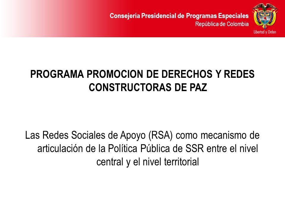 PROGRAMA PROMOCION DE DERECHOS Y REDES CONSTRUCTORAS DE PAZ Las Redes Sociales de Apoyo (RSA) como mecanismo de articulación de la Política Pública de