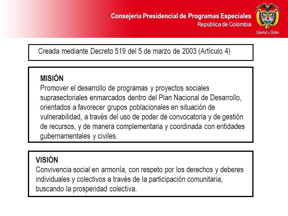 MISIÓN Promover el desarrollo de programas y proyectos sociales suprasectoriales enmarcados dentro del Plan Nacional de Desarrollo, orientados a favor