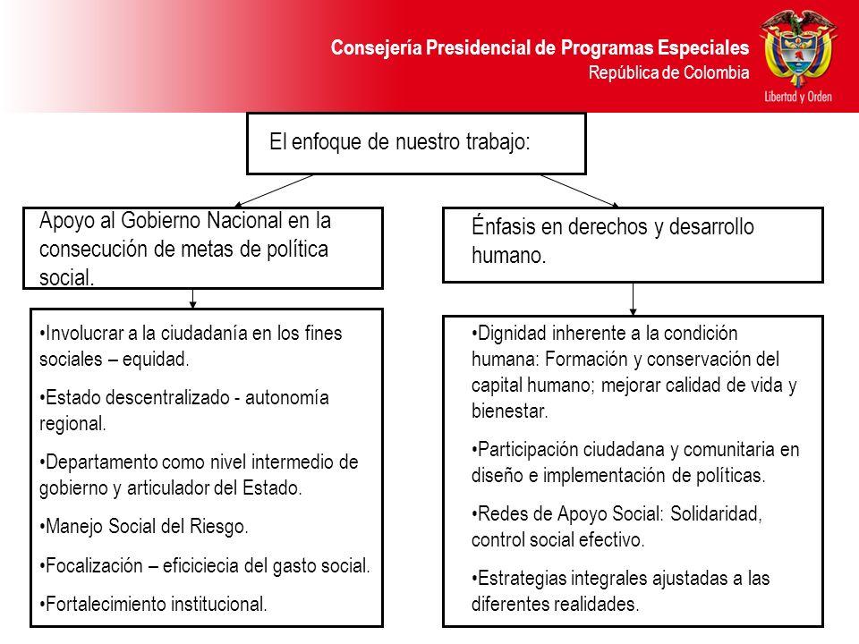 Consejería Presidencial de Programas Especiales República de Colombia El enfoque de nuestro trabajo: Apoyo al Gobierno Nacional en la consecución de m