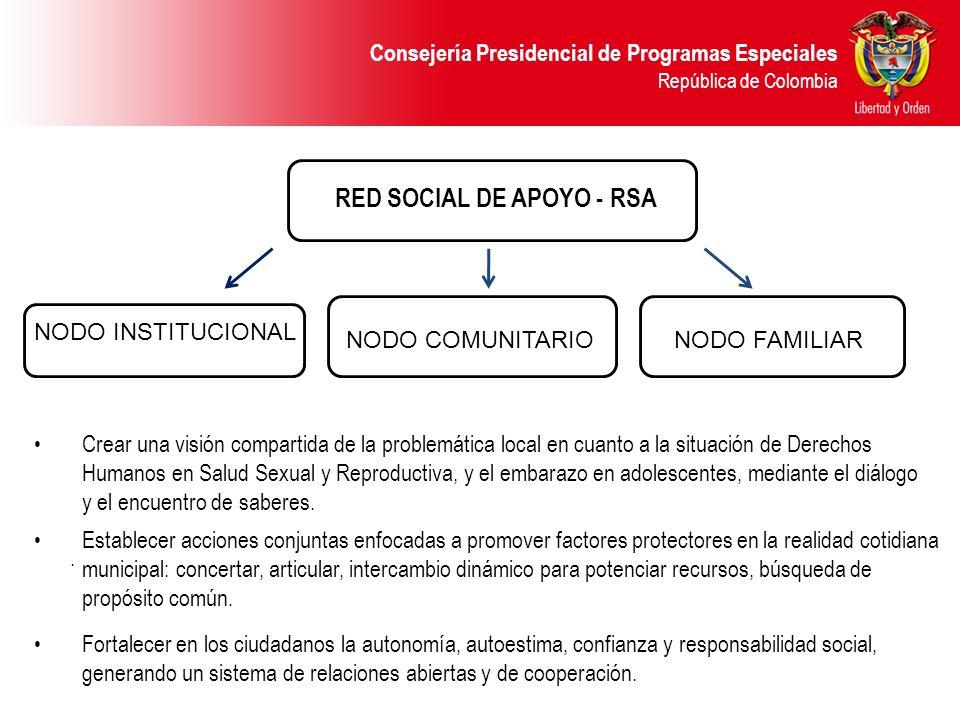 RED SOCIAL DE APOYO - RSA NODO INSTITUCIONAL NODO COMUNITARIONODO FAMILIAR. Crear una visión compartida de la problemática local en cuanto a la situac