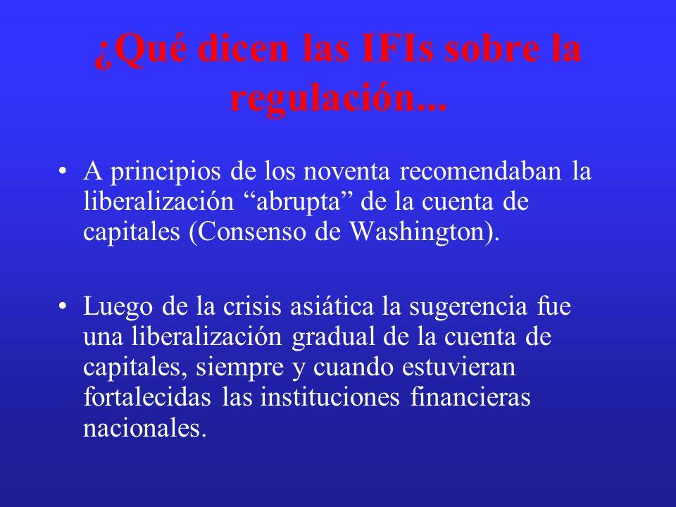 ¿Qué dicen las IFIs sobre la regulación... A principios de los noventa recomendaban la liberalización abrupta de la cuenta de capitales (Consenso de W