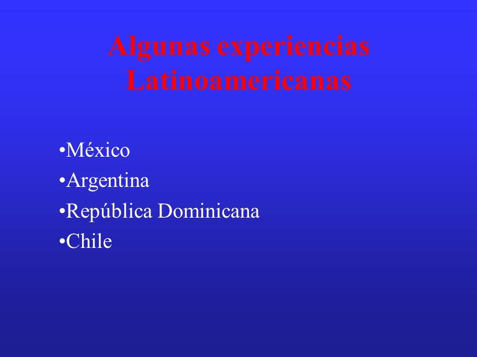 Algunas experiencias Latinoamericanas México Argentina República Dominicana Chile