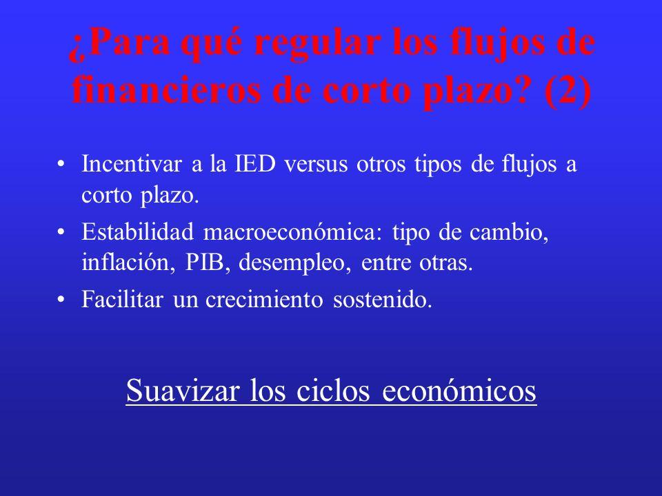 ¿Para qué regular los flujos de financieros de corto plazo? (2) Incentivar a la IED versus otros tipos de flujos a corto plazo. Estabilidad macroeconó