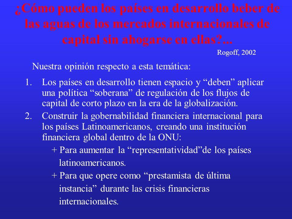 ¿Cómo pueden los países en desarrollo beber de las aguas de los mercados internacionales de capital sin ahogarse en ellas?... 1.Los países en desarrol