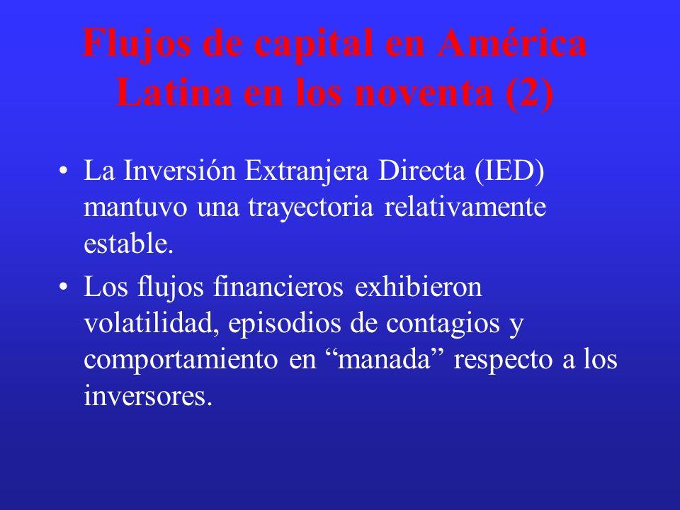Flujos de capital en América Latina en los noventa (2) La Inversión Extranjera Directa (IED) mantuvo una trayectoria relativamente estable. Los flujos