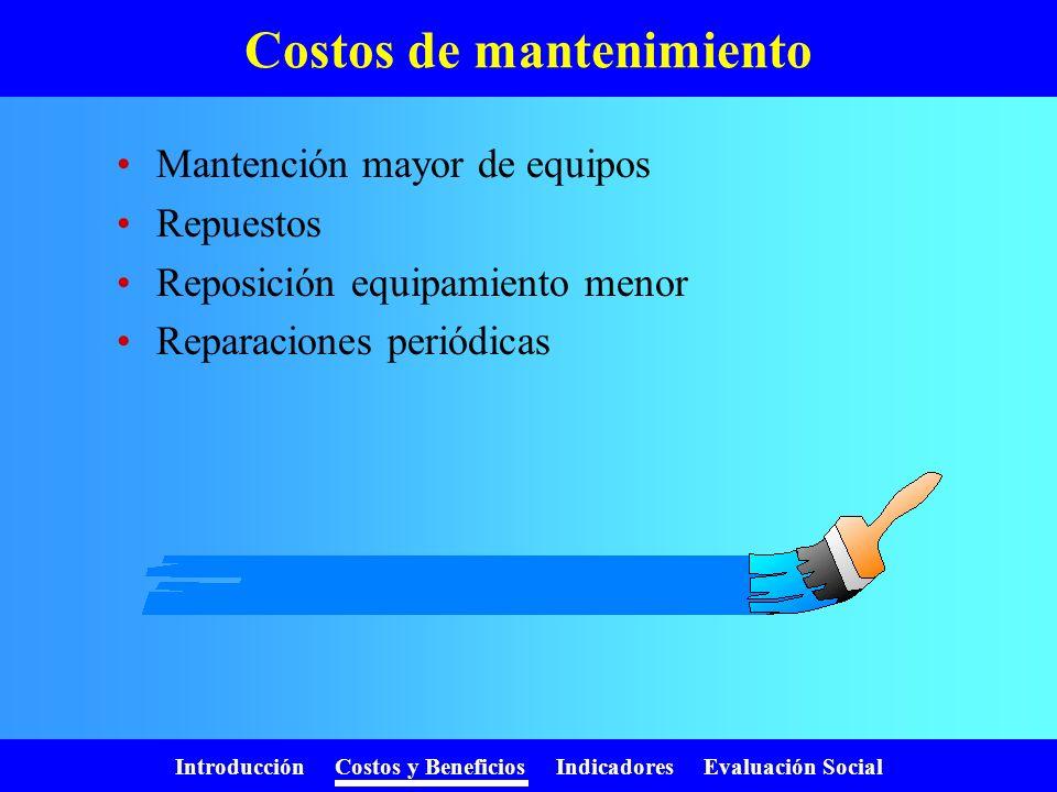Introducción Costos y Beneficios Indicadores Evaluación Social Costos de operación Sueldos y salarios Servicios básicos Arriendos Materiales e insumos