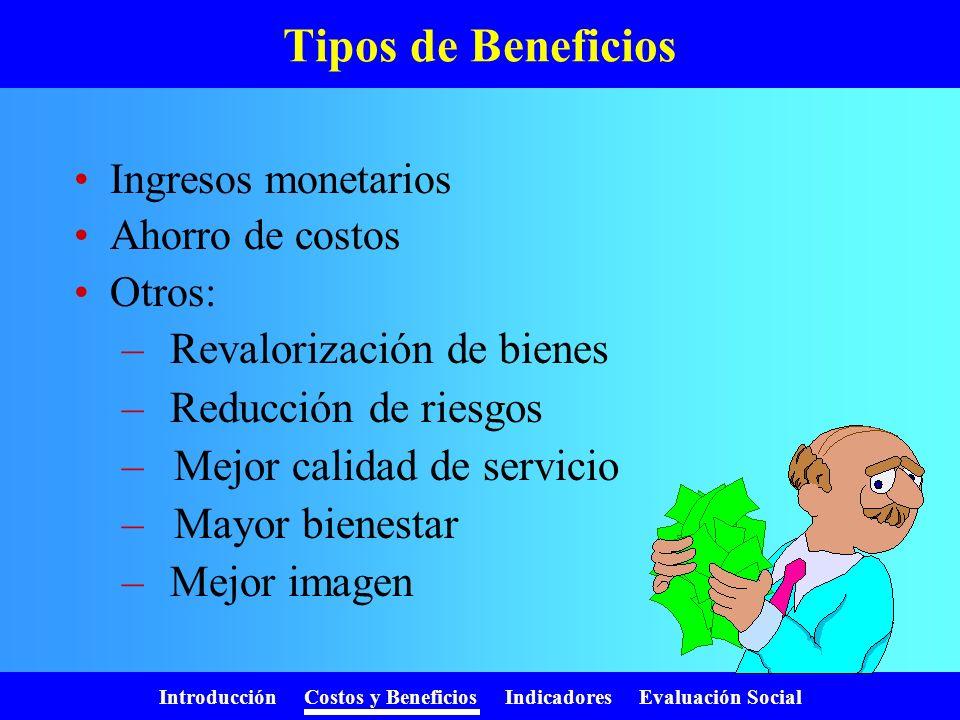 Introducción Costos y Beneficios Indicadores Evaluación Social Costos de mantenimiento Mantención mayor de equipos Repuestos Reposición equipamiento m