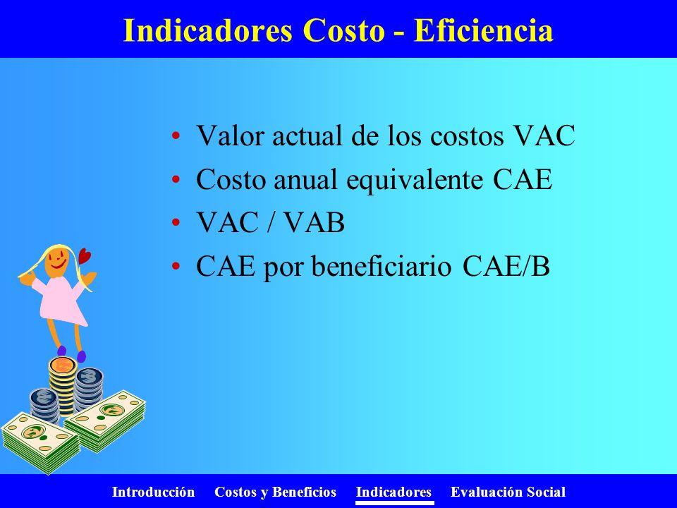 Introducción Costos y Beneficios Indicadores Evaluación Social Tasa Interna de Retorno (TIR)