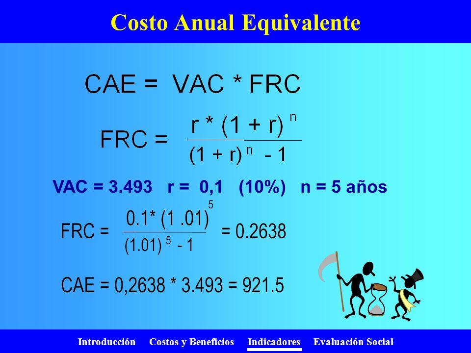 Introducción Costos y Beneficios Indicadores Evaluación Social VAC / VAB Permite comparar proyectos: Con diferente Nº de beneficiarios Con diferente v