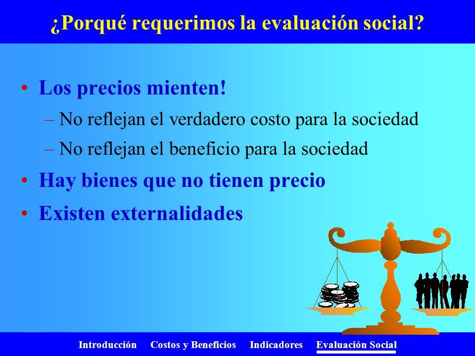 Introducción Costos y Beneficios Indicadores Evaluación Social Costo Anual Equivalente VAC = 3.493 r = 0,1 (10%) n = 5 años