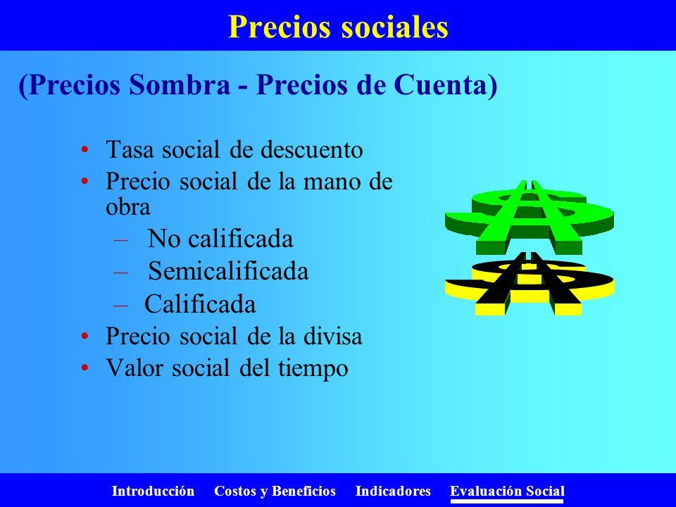 Introducción Costos y Beneficios Indicadores Evaluación Social ¿Como valoramos? Valoramos la producción del proyecto con impuesto Valoramos los recurs