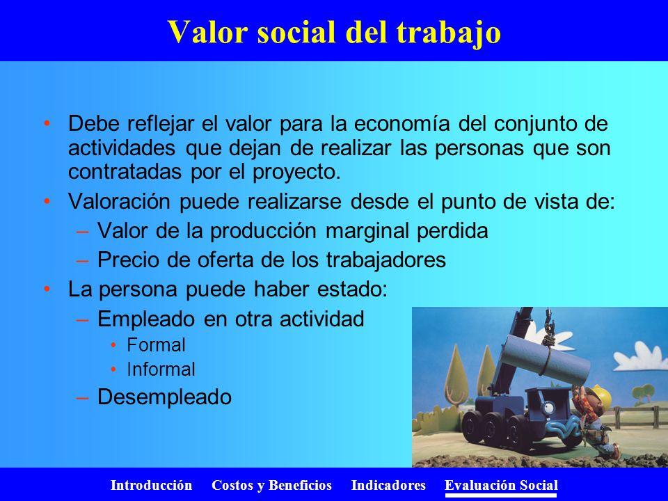 Introducción Costos y Beneficios Indicadores Evaluación Social Precios sociales Tasa social de descuento Precio social de la mano de obra –No califica