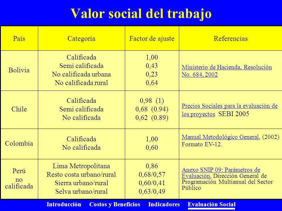 Introducción Costos y Beneficios Indicadores Evaluación Social Valor social del trabajo Debe reflejar el valor para la economía del conjunto de activi