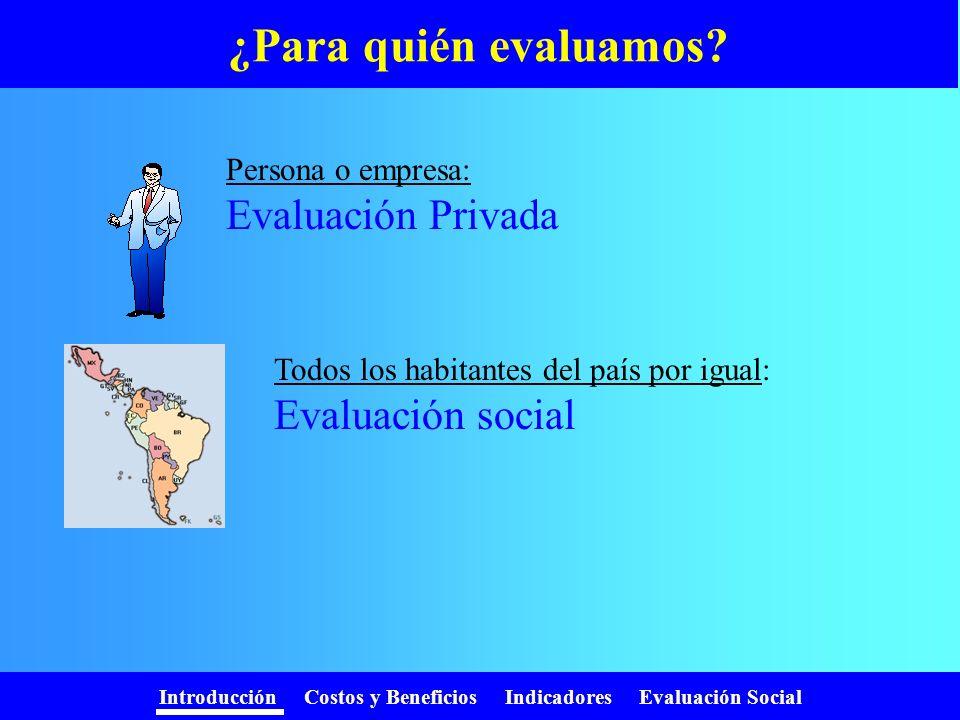 Introducción Costos y Beneficios Indicadores Evaluación Social ¿Porqué evaluar ? Queremos obtener más de lo que gastamos. - + Debemos jerarquizar, ya