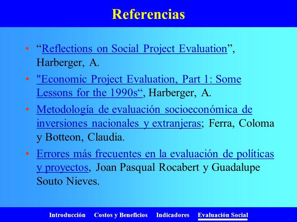 Introducción Costos y Beneficios Indicadores Evaluación Social Existen importantes efectos indirectos Sobre el medio ambiente Sobre otros usuarios En