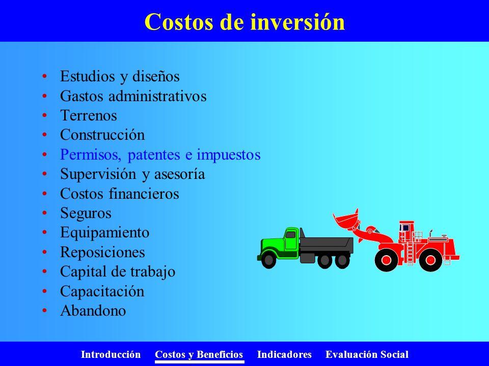 Introducción Costos y Beneficios Indicadores Evaluación Social Categorías de costos Inversión Operación Mantenimiento