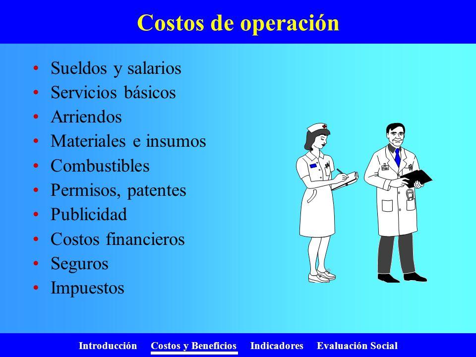 Introducción Costos y Beneficios Indicadores Evaluación Social Costos de inversión Estudios y diseños Gastos administrativos Terrenos Construcción Per