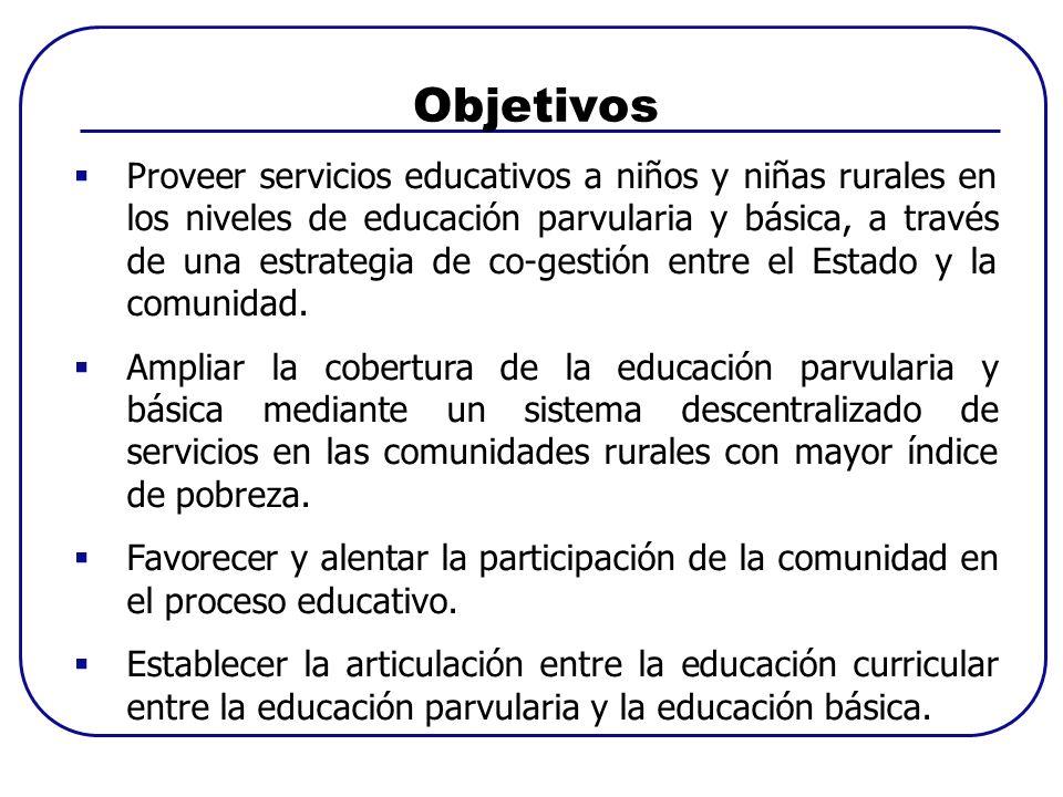 Proveer servicios educativos a niños y niñas rurales en los niveles de educación parvularia y básica, a través de una estrategia de co-gestión entre el Estado y la comunidad.