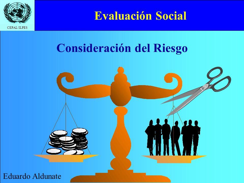 CEPAL/ILPES Evaluación Social Eduardo Aldunate Consideración del Riesgo
