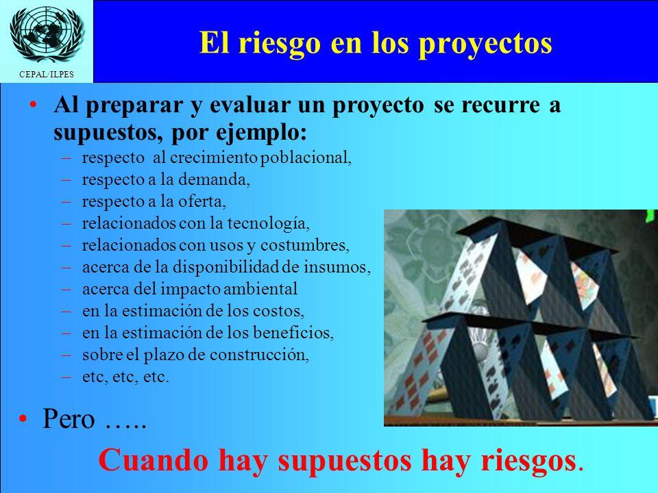 CEPAL/ILPES El riesgo en los proyectos Pero ….. Cuando hay supuestos hay riesgos. Al preparar y evaluar un proyecto se recurre a supuestos, por ejempl