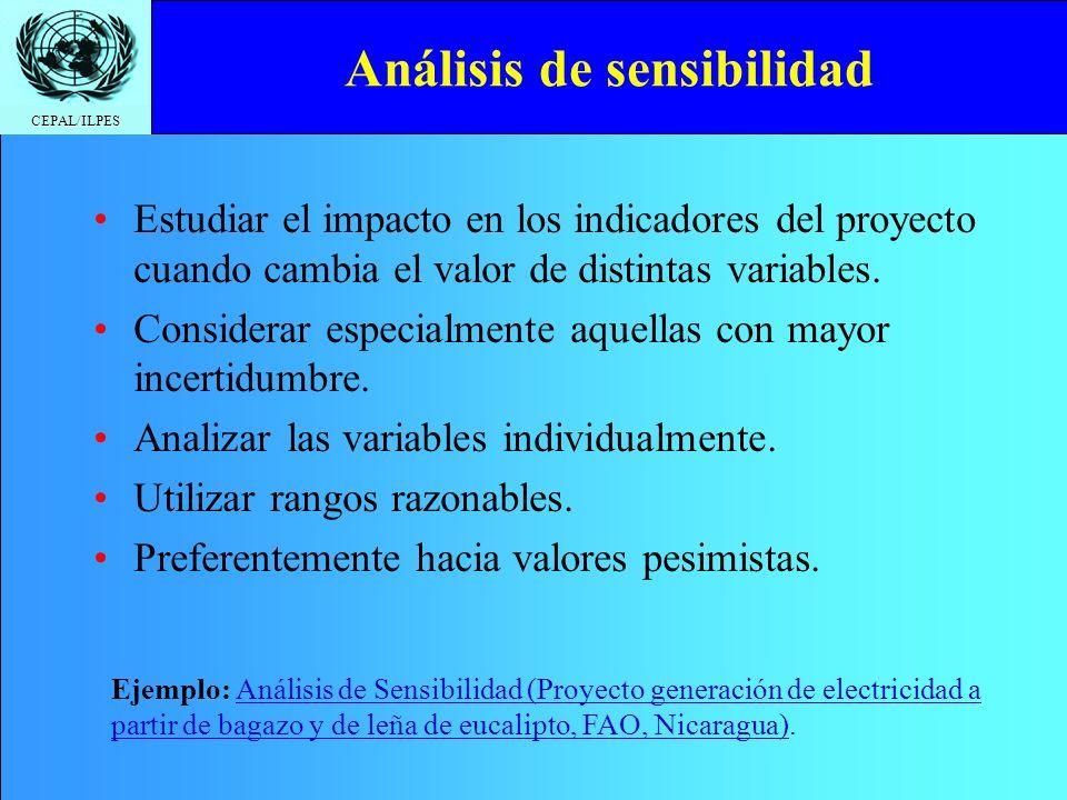 CEPAL/ILPES Análisis de sensibilidad Estudiar el impacto en los indicadores del proyecto cuando cambia el valor de distintas variables. Considerar esp