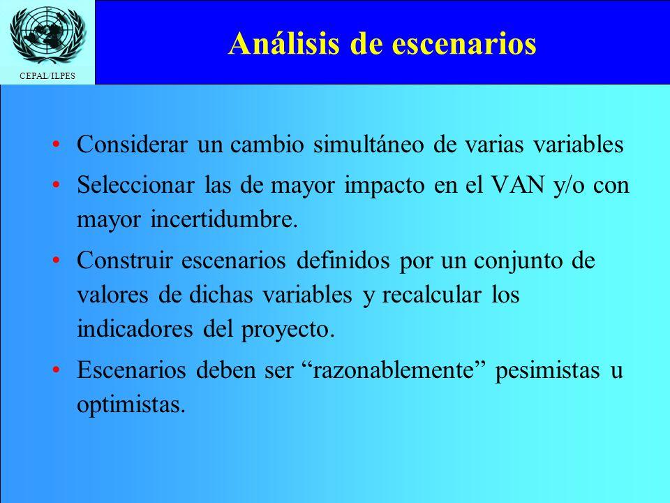 CEPAL/ILPES Análisis de escenarios Considerar un cambio simultáneo de varias variables Seleccionar las de mayor impacto en el VAN y/o con mayor incert