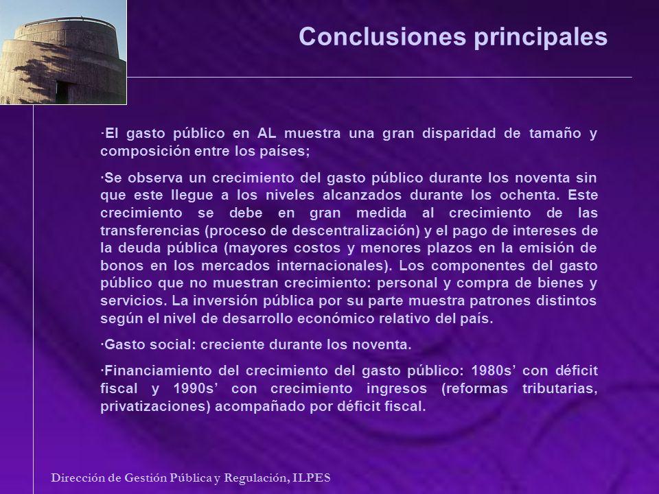 Conclusiones principales Dirección de Gestión Pública y Regulación, ILPES · El gasto público en AL muestra una gran disparidad de tamaño y composición