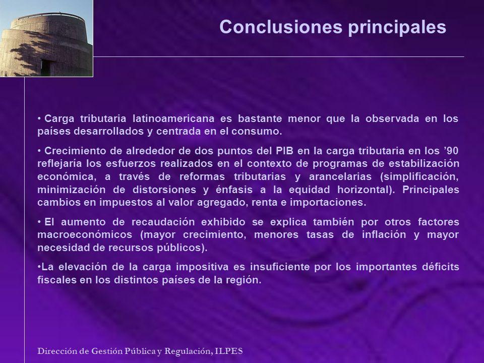 Conclusiones principales Dirección de Gestión Pública y Regulación, ILPES Carga tributaria latinoamericana es bastante menor que la observada en los p