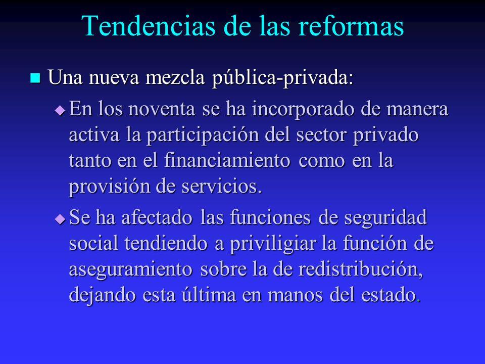 Tendencias de las reformas Una nueva mezcla pública-privada: Una nueva mezcla pública-privada: En los noventa se ha incorporado de manera activa la participación del sector privado tanto en el financiamiento como en la provisión de servicios.
