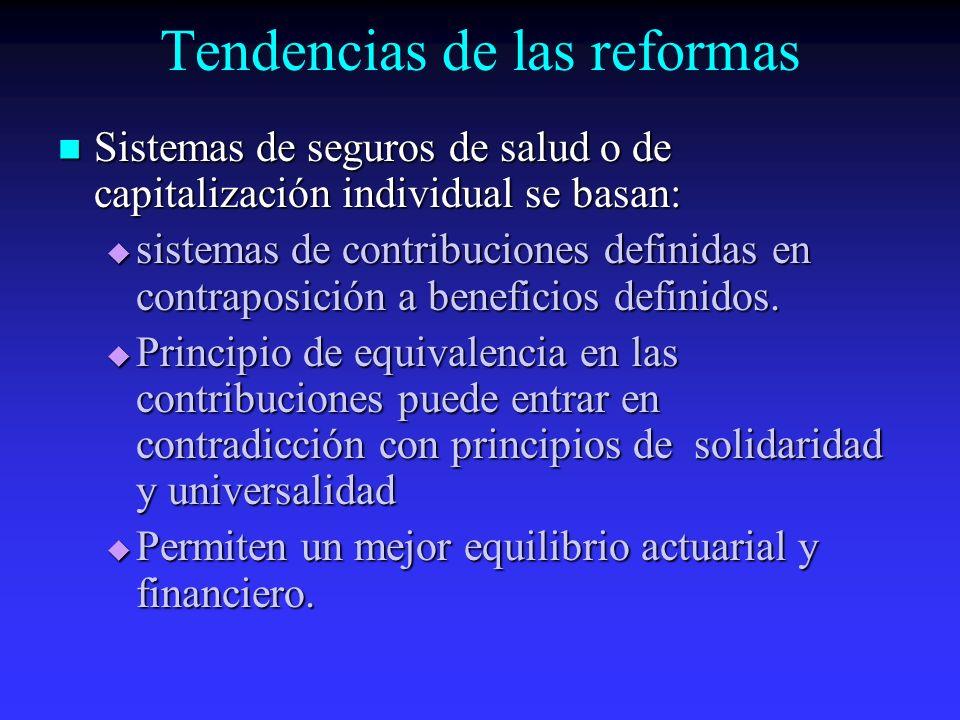Tendencias de las reformas Sistemas de seguros de salud o de capitalización individual se basan: Sistemas de seguros de salud o de capitalización individual se basan: sistemas de contribuciones definidas en contraposición a beneficios definidos.
