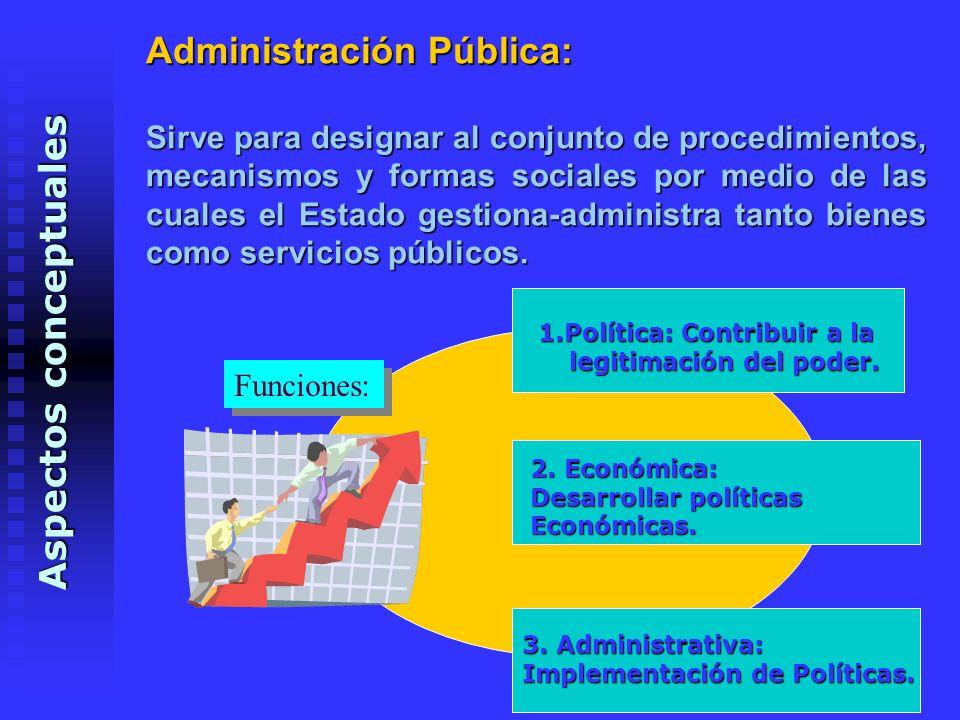 Administración Pública: Sirve para designar al conjunto de procedimientos, mecanismos y formas sociales por medio de las cuales el Estado gestiona-administra tanto bienes como servicios públicos.