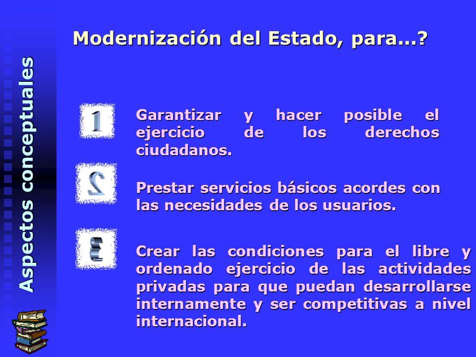Aspectos conceptuales Modernización del Estado, para....