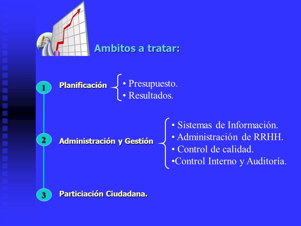 Ambitos a tratar: 2 Administración y Gestión 3 Particiación Ciudadana.