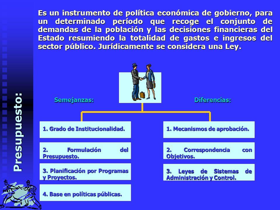 P r e s u p u e s t o : Es un instrumento de política económica de gobierno, para un determinado período que recoge el conjunto de demandas de la población y las decisiones financieras del Estado resumiendo la totalidad de gastos e ingresos del sector público.