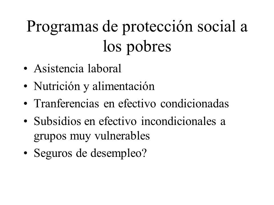 Programas de protección social a los pobres Asistencia laboral Nutrición y alimentación Tranferencias en efectivo condicionadas Subsidios en efectivo incondicionales a grupos muy vulnerables Seguros de desempleo?