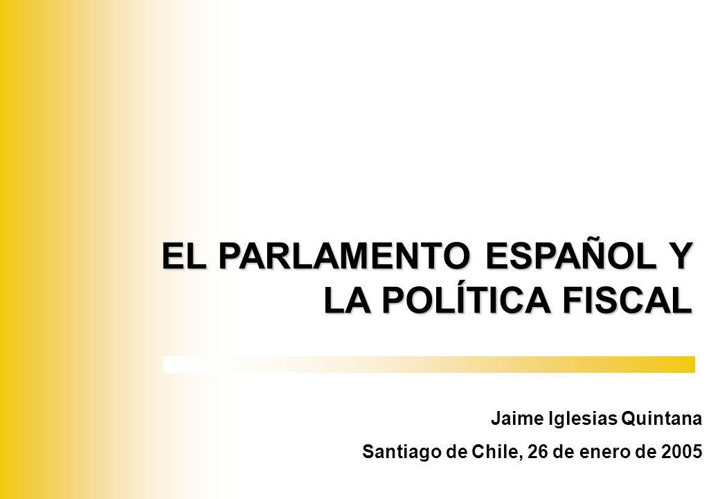 EL PARLAMENTO Y LA POLÍTICA FISCAL PARLAMENTO ESPAÑOL CONGRESO DE LOS DIPUTADOS (350): SISTEMA PROPORCIONAL CIRCUNSCRIPCIÓN PROVINCIAL LISTAS CERRADAS PRIMACÍA SOBRE EL SENADO SENADO (259): CAMARA DE REPRESENTACIÓN TERRITORIAL CIRCUNSCRIPCIÓN PROVINCIAL Y REGIONAL SENADORES ELECTOS Y DESIGNADOS
