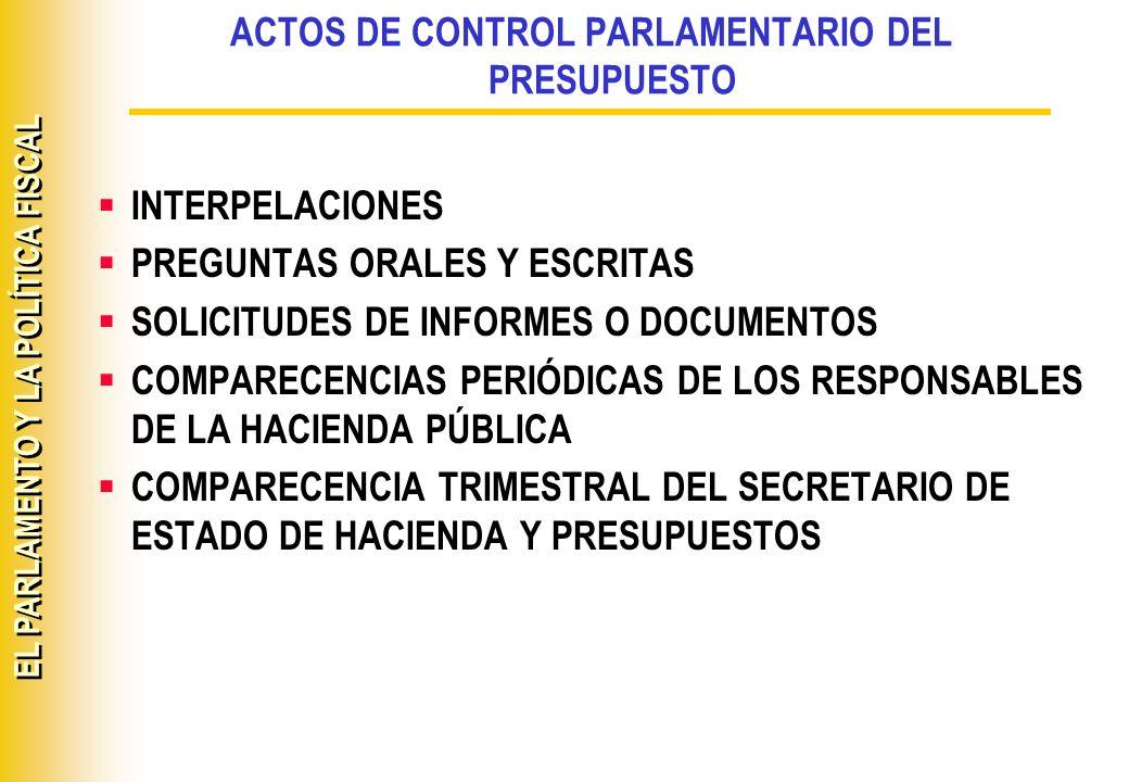 EL PARLAMENTO Y LA POLÍTICA FISCAL DOCUMENTACIÓN A REMITIR A LAS CORTES UTILIZACIÓN DEL FONDO DE CONTINGENCIA TRANSFERENCIAS DE CRÉDITO OPERACIONES DE EJECUCIÓN OPERACIONES DE DEUDA PÚBLICA CUENTAS DEL TESORO EN ENTIDADES FINANCIERAS AVALES PLAN DE CORRECCIÓN DEL DÉFICIT DEL ESTADO
