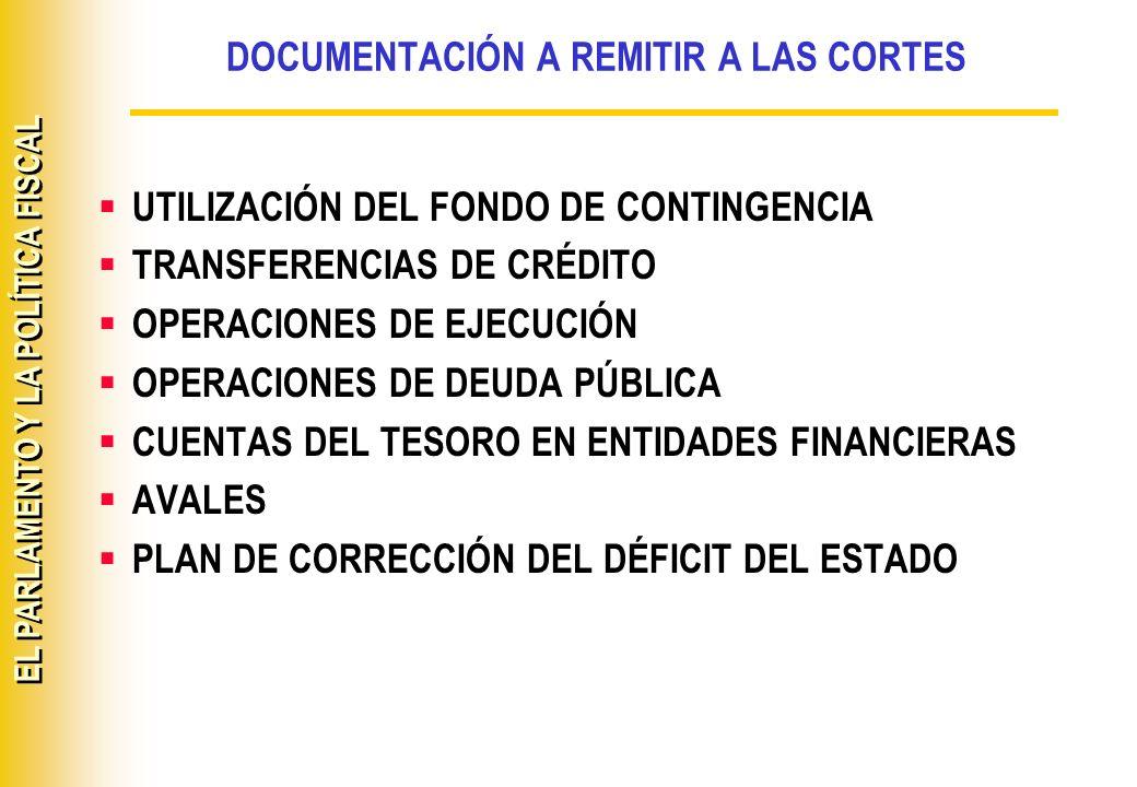 EL PARLAMENTO Y LA POLÍTICA FISCAL DOCUMENTACIÓN A REMITIR A LAS CORTES UTILIZACIÓN DEL FONDO DE CONTINGENCIA TRANSFERENCIAS DE CRÉDITO OPERACIONES DE
