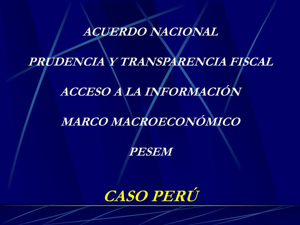 ACUERDO NACIONAL PRUDENCIA Y TRANSPARENCIA FISCAL ACCESO A LA INFORMACIÓN MARCO MACROECONÓMICO PESEM CASO PERÚ