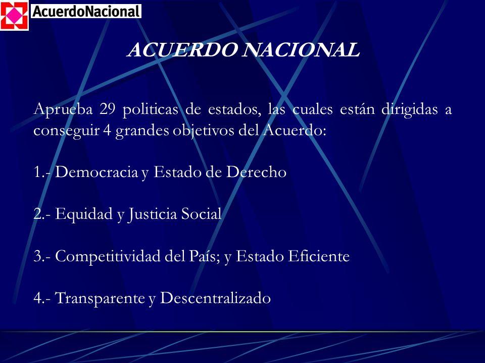 ACUERDO NACIONAL Aprueba 29 politicas de estados, las cuales están dirigidas a conseguir 4 grandes objetivos del Acuerdo: 1.- Democracia y Estado de D